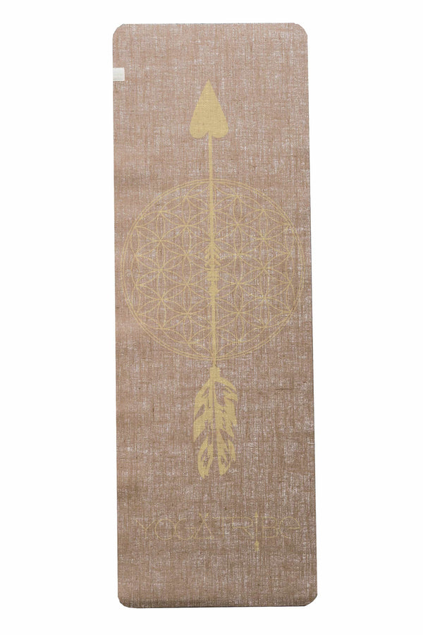 Flower of Life Beige Yellow Print Organic Jute 100% Eco YogaTribe® Mat - Yoga Tribe NZ