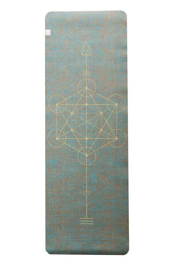 Metatron Aqua Yellow Print  Organic Jute 100% Eco YogaTribe® Mat - Yoga Tribe NZ