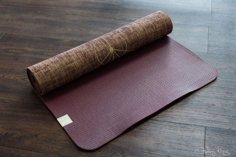 Metatron Red Wine Organic Jute 100% Eco YogaTribe® Mat - Yoga Tribe NZ