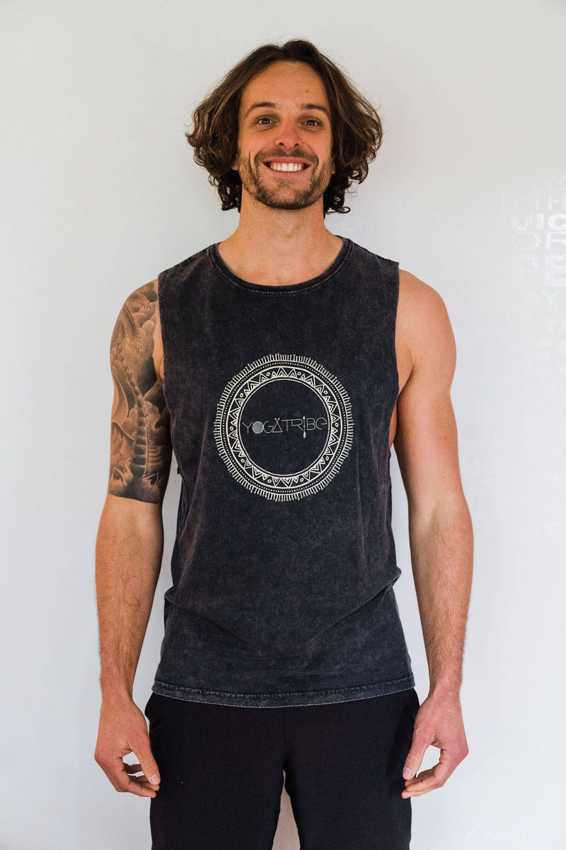 Organic 100% Cotton Stone Washed Black  Yogatribe® Tank - Yoga Tribe NZ