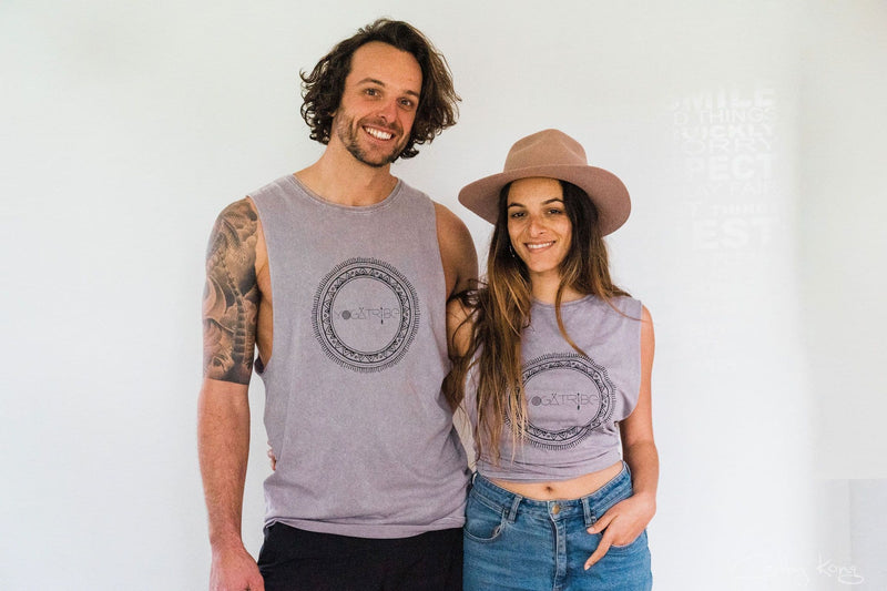 Organic 100% Cotton Stone Washed Lilac  Yogatribe® Tank - Yoga Tribe NZ
