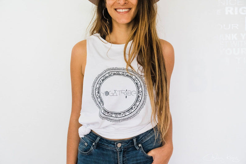 Organic 100% Cotton White Yogatribe® Tank - Yoga Tribe NZ