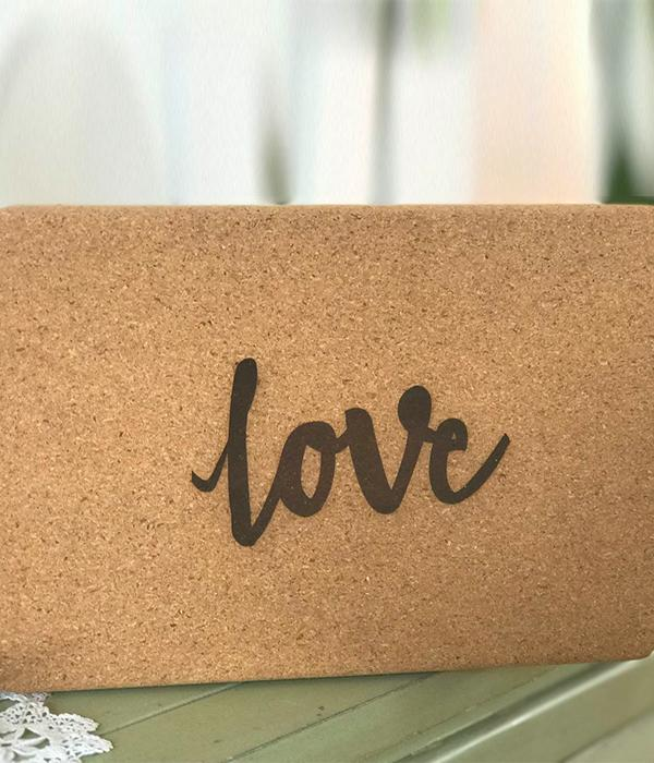 SWAMI Step 100% Cork 'LOVE' Eco Yoga Block - Yoga Tribe NZ