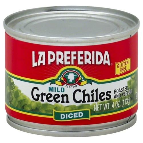 La Preferida Diced Green Mild Chiles (12x4 OZ)