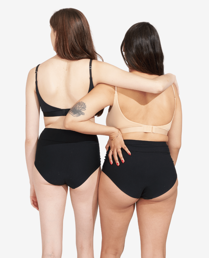 High-waist soft and supportive postpartum panty in non-toxic certified OKEO-TEX micro-modal