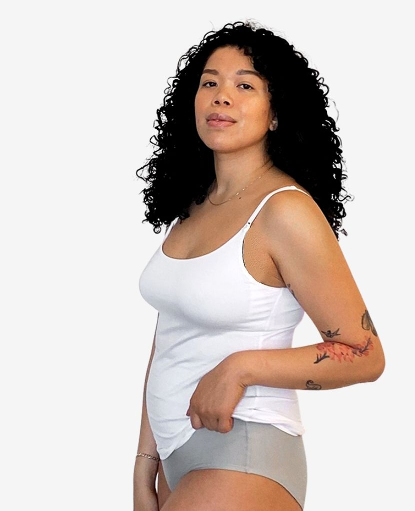 Discreet nursing clips and stretchy scooped neck provide easy breastfeeding access. Front slider-adjustable soft stretch straps allow you to achieve the perfect fit.