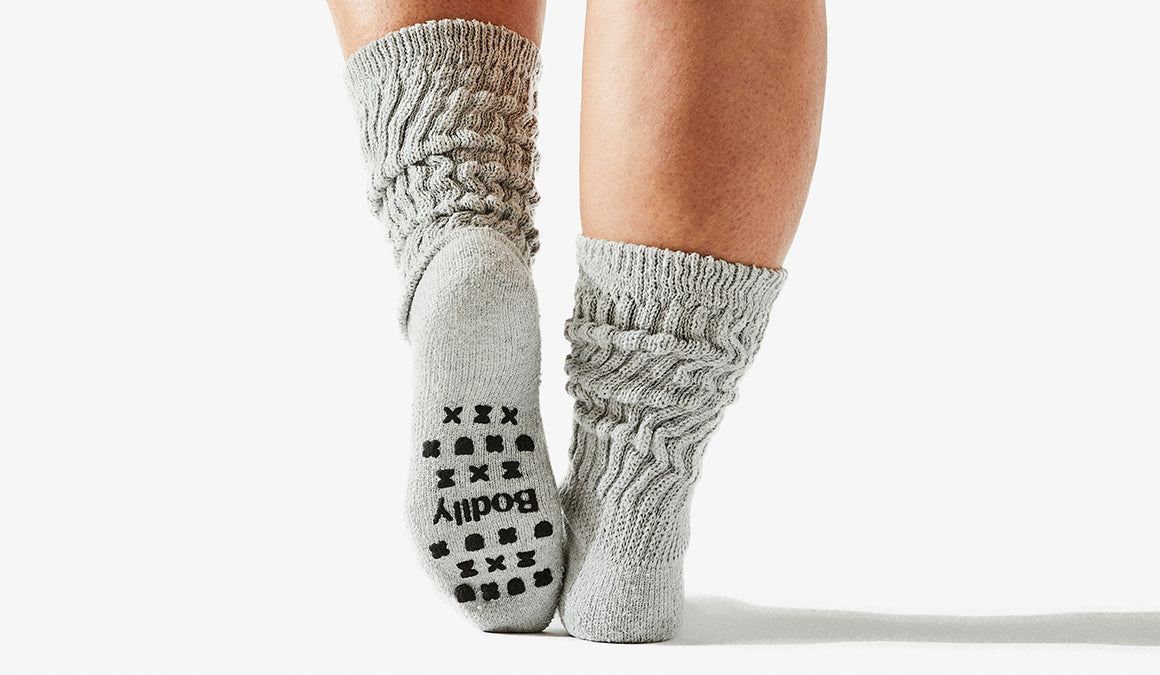 Bodily grippy cozy slouchy socks made from 100% soft cotton