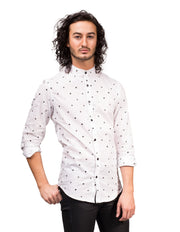Button Up Shirt in Moon Phases with Nehru Collar