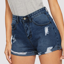 Load image into Gallery viewer, Women's High-Waist Ripped Denim Shorts