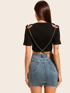 Women's Solid Cut Out Short-Sleeve Crop Top