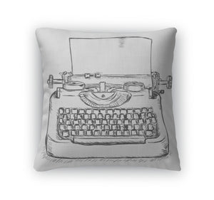 Retro Typewriter Print Throw Pillow