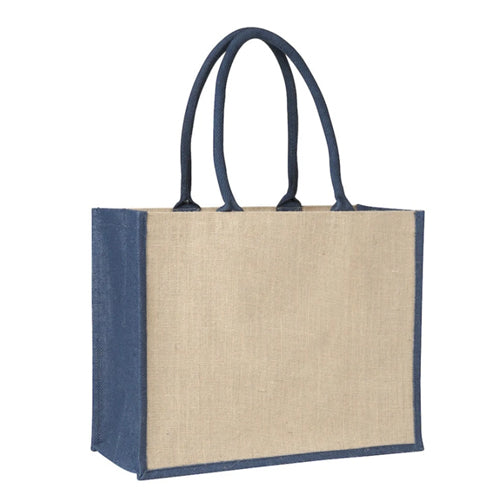 Laminated Jute Supermarket Bag with Blue Handles and Gussets