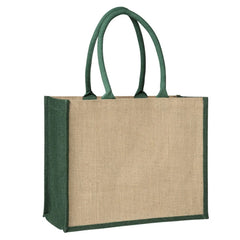Laminated Jute Supermarket Bag with Green Handles and Gussets