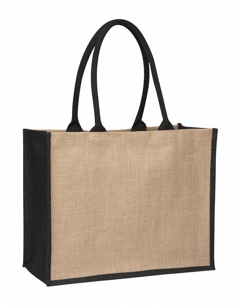 Laminated Jute Supermarket Bag with Black Handles and Gussets