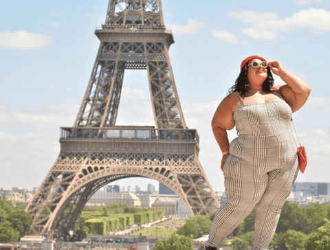 Black Girl in Front of Eiffel Tower