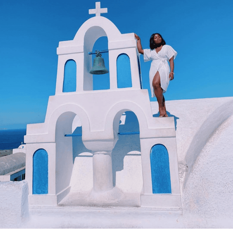 Black Girl in Santorini Greece