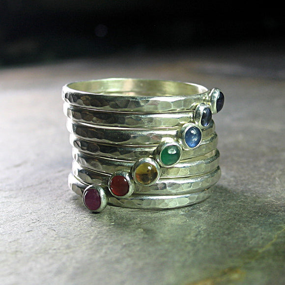 Yoga jewelry chakra rings - The Seven Chakras stacking ring set