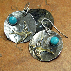 Hammered Sterling Silver Earrings - Across the Turquoise Sky