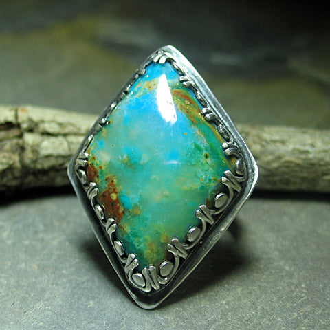 Pisco Blue Gem Chrysocolla ring - Almost Heaven - SOLD
