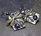 Dragonfly Earrings, Sterling Silver, Brass and Amethyst - Amethyst Moon