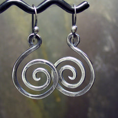 Sterling Silver Spiral Earrings - Antique Silver Swirls