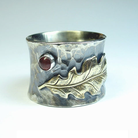Wide Band Sterling Silver Ring with Brass Oak Leaf - Autumn Song