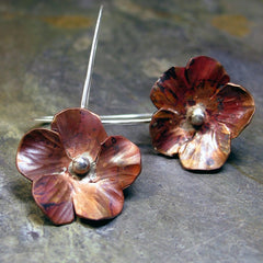 Handmade Copper Flower Earrings - Autumnflower