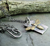 Bee Pendant in Sterling Silver with Brass Bee - Bee My Honey