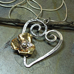 Handmade Sterling Silver Heart Pendant - Blooming Heart - SOLD