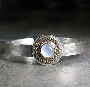 Sterling Silver Cuff with Blue Chalecedony  - Blue Mist