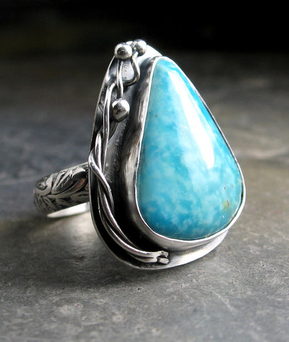 Handmade Turquoise Ring, sterling silver, one of a kind stone, artisan setting made to order - Summer Blues
