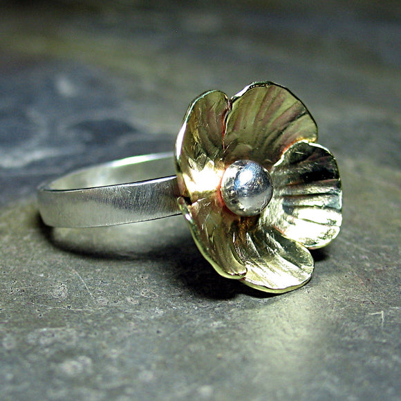 Flower Ring in Sterling Silver and Brass - Sunny Buttercup