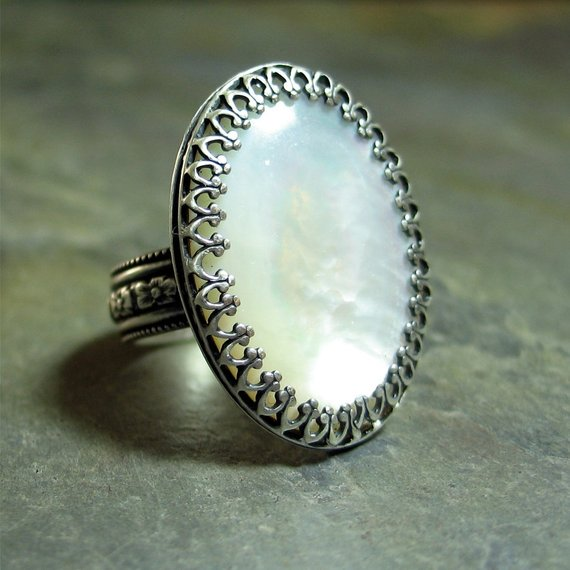 Captured Moonlight - Mother of Pearl Ring set in Sterling Silver Filigree