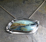 Scenic Peruvian Blue Opal Pendant, One of a Kind, Made to Order
