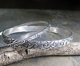 Sterling Silver Pattern Wire Bangle Set of 2 - Dogwood Spring
