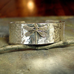 Enchanted Dragonfly Cuff in Hammered Sterling Silver