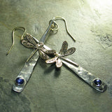 Sterling Silver Hammered Dangles with Dragonfly and Iolite - Dragonfly Dreams