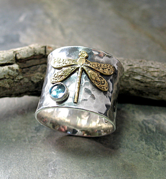 Wide Band Sterling Silver Dragonfly Ring with choice of stone - Dragonfly Treasure