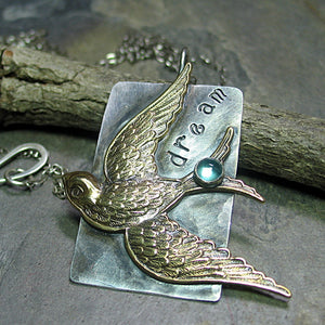Sterling silver bird pendant with Apatite gemstone - Dream