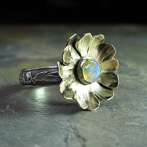 Ethiopian Opal Ring with Brass Flower - Enchanted Garden