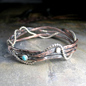 Rustic Copper Bangle - Entwined
