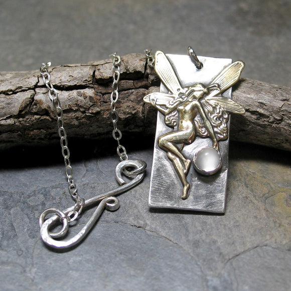 Fairy Pendant with Moonstone - Fairy Moon Dance