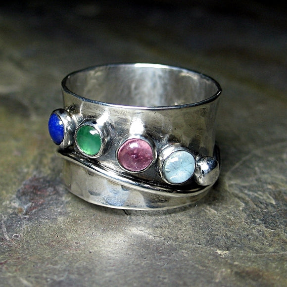 Sterling Silver Mother's Ring with Up to 6 Stones - Family Treasures