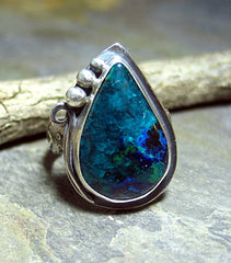 Handmade Chrysocolla with Azurite Malachite Ring - Midnight Forest - SOLD