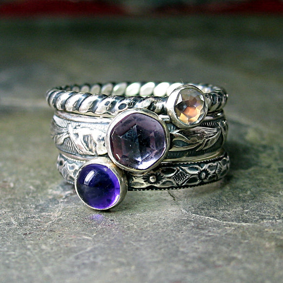 French Lavender - Sterling Silver Stacking Ring set with Amethyst and Moonstone