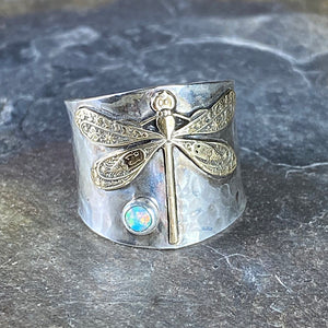 Wide Band Sterling Silver Dragonfly Ring with choice of stone - Garden Dragonfly