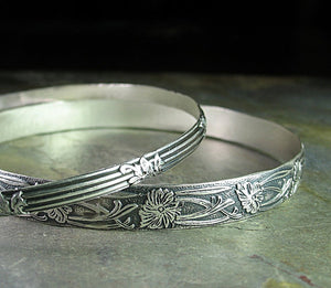 Sterling Silver Pattern Wire Bangle Set of 2 - Garden Gate