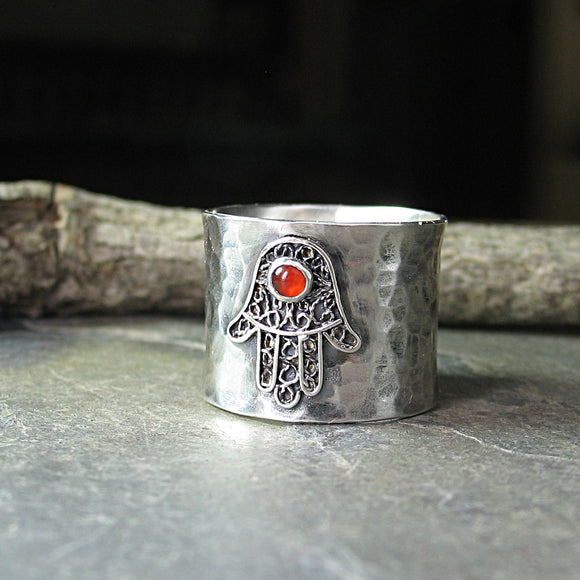 Hamsa Ring in Sterling silver with Gemstone - Blessings of Peace