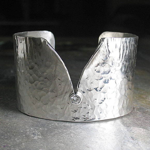 Sterling Silver Wide Hammered Cuff with Stone - Ice Whisper