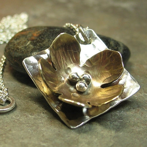 Sterling Silver and Brass Flower Pendant - La Petite Buttercup
